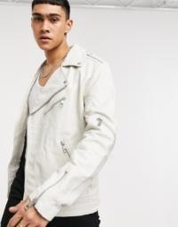 ASOS DESIGN - Weiße Biker-Jacke aus Leder