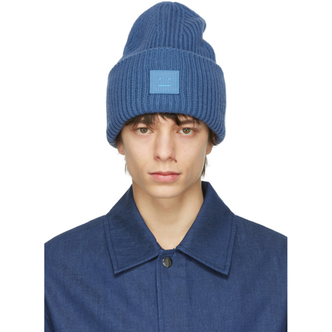 Acne Studios Blue Wool Patch Beanie
