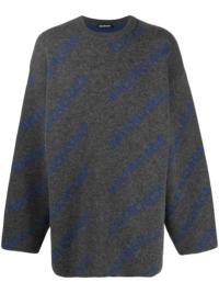 Balenciaga Pullover mit Intarsien-Logo - Grau
