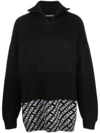 Balenciaga Pullover mit Reißverschluss - Schwarz