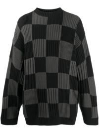Balenciaga Pullover mit Schachbrettmuster - Schwarz