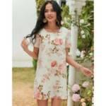 Floral Print Short Sleeve Tunic Dress