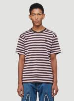 Acne Studios Striped Logo T-Shirt in Purple