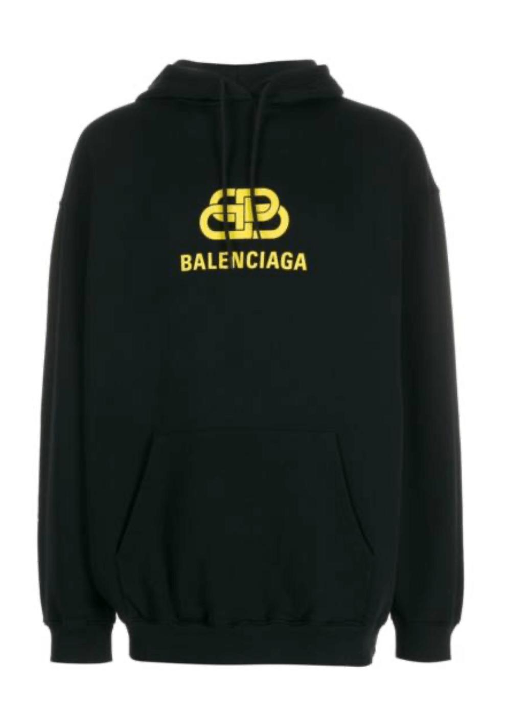Balenciaga-Hoodie-Herren-BB-Schwarz-Gelb