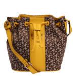 """DKNY Beuteltasche """"Noho"""", Synthetik, Leder-Details, Allover-Logo-Muster, für Damen, braun/gelb"""