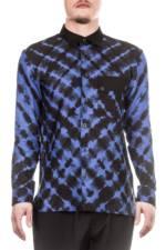 ISSEY MIYAKE Herren Leinen Hemd SHIBORI SHIRT blau schwarz