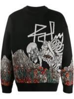Palm Angels Pullover mit Skelett-Stickerei - Schwarz
