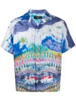 AMIRI Seidenhemd mit Batikmuster - Blau