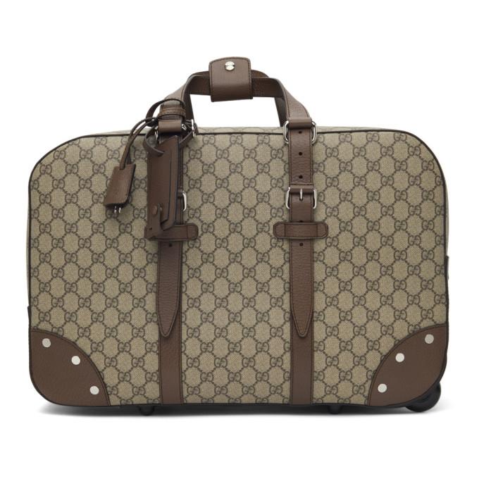Gucci Beige Wheeled GG Supreme Carry-On Weekender Bag