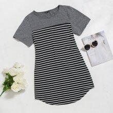Plus Striped Curved Hem Tee Dress