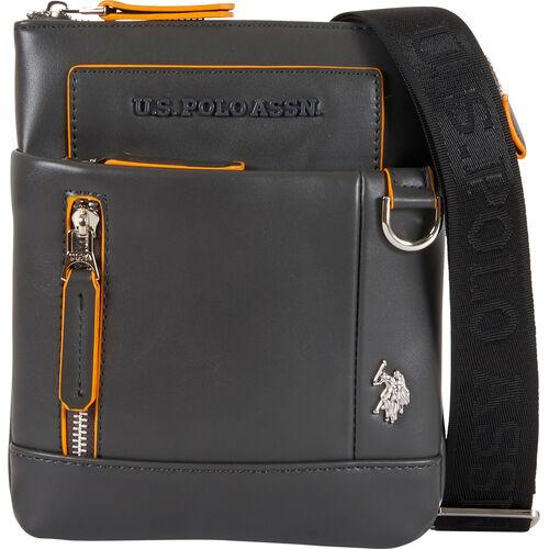 "U.S. Polo Assn. Schultertasche ""Cambridge XS"", Logo, für Herren, dunkelgrau"