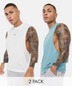ASOS DESIGN - Legere, ärmellose T-Shirts mit tiefen Armausschnitten im 2er-Pack-Mehrfarbig