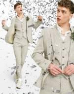ASOS DESIGN Wedding - Supereng geschnittene Anzugjacke aus Wollmischung in Stein mit feinem Hahnentrittmuster-Neutral