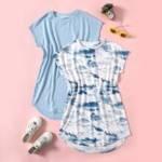 Girls 2 Pack Batwing Sleeve Curved Hem Dress