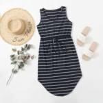 Knot Waist Curved Hem Striped Dress