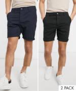 ASOS DESIGN - 2er Packung enge Chino-Shorts in Schwarz und Marineblauc - SPAREN-Mehrfarbig