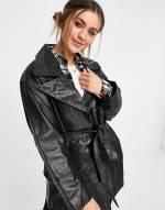 ASOS DESIGN - Mum-Lederjacke im Stil der 90er in Schwarz