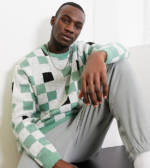 ASOS DESIGN Tall - Oversize-Pullover mit Schachbrettmuster in Minzgrün