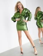 ASOS EDITION - Cocktail-Kleid mit auffälliger Schulterpartie und Metalllic-Optik-Grün