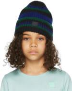 Acne Studios Kids Black & Blue Wool Patch Beanie