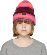 Acne Studios Kids Pink & Burgundy Wool Patch Beanie