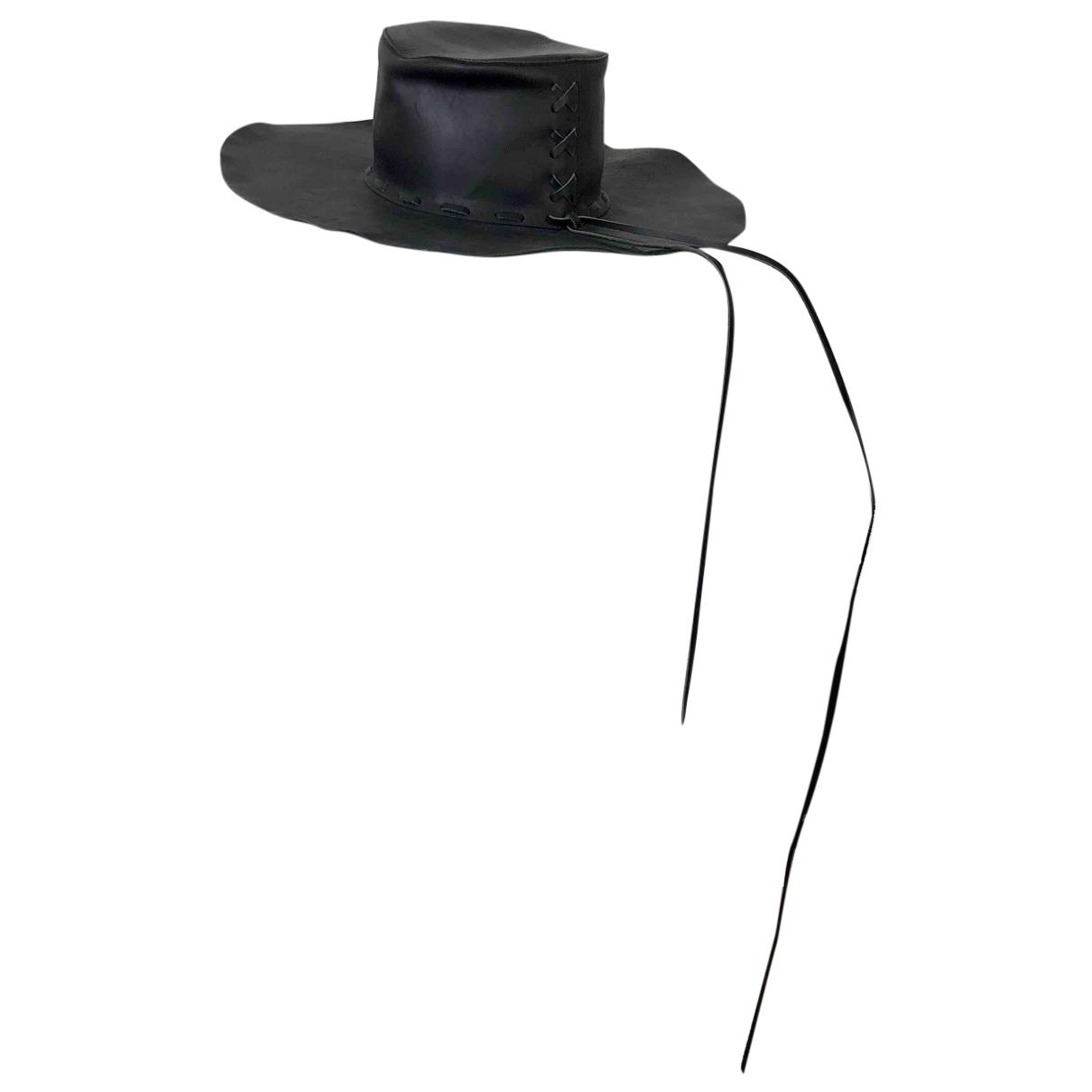 Acne Studios black Leather Hats