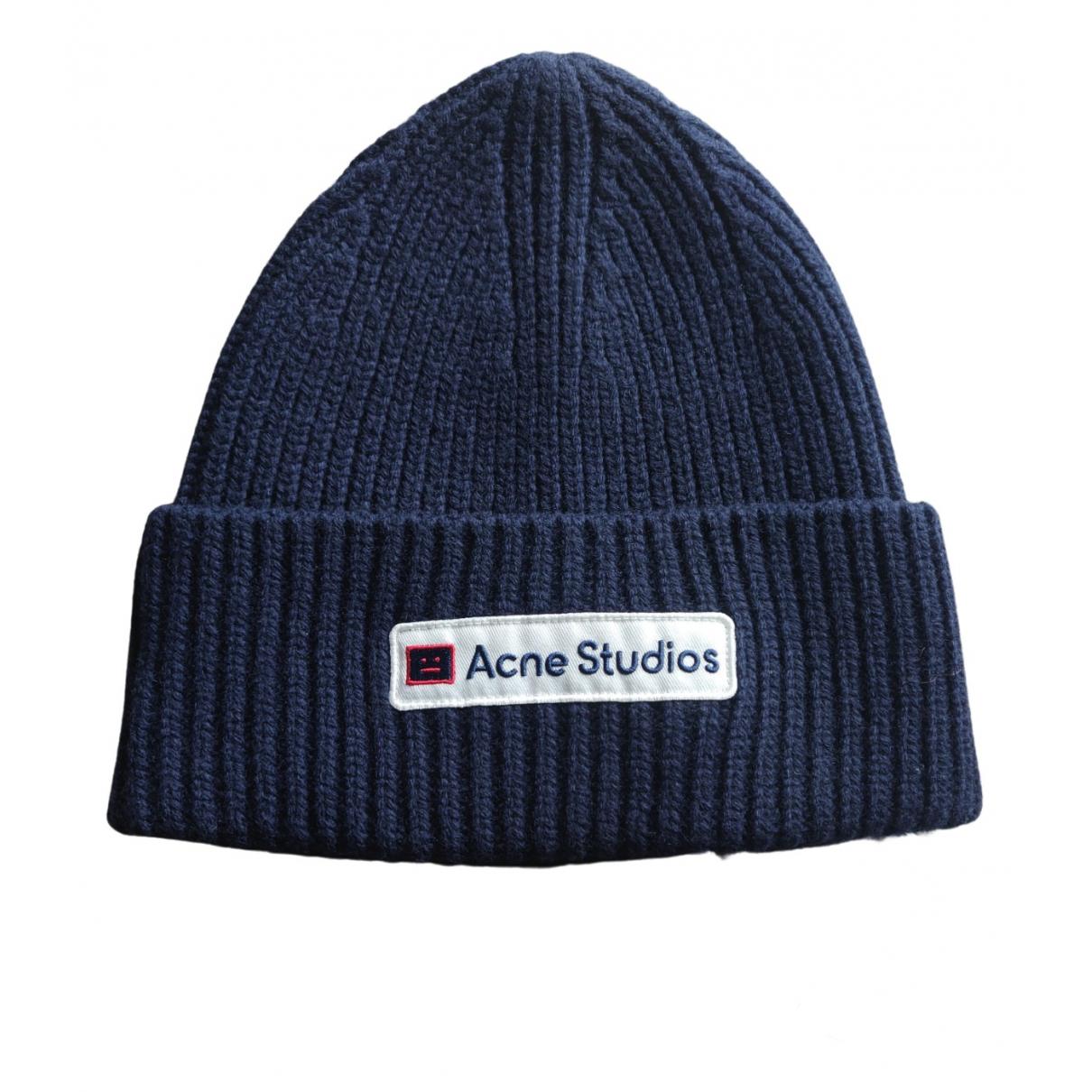 Acne Studios navy Wool Hats & Pull ON Hats