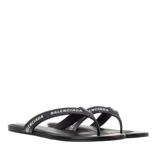 Balenciaga Sandalen & Sandaletten - Logo Flip Flop Slippers Plain Leather - in schwarz - für Damen