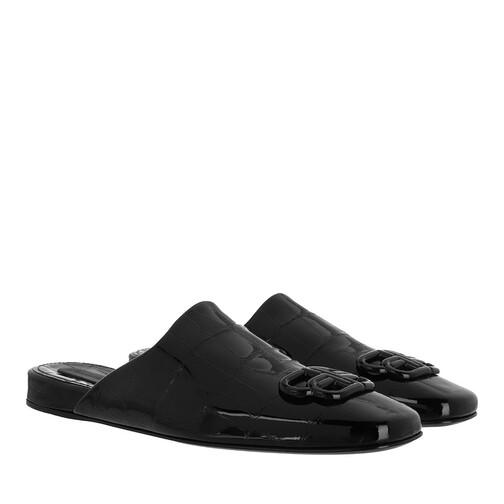 Balenciaga Slipper & Pantoletten - Flat Logo Slides Leather - in schwarz - für Damen