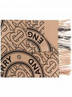 Burberry monogram-print fringed-edge scarf - Nude