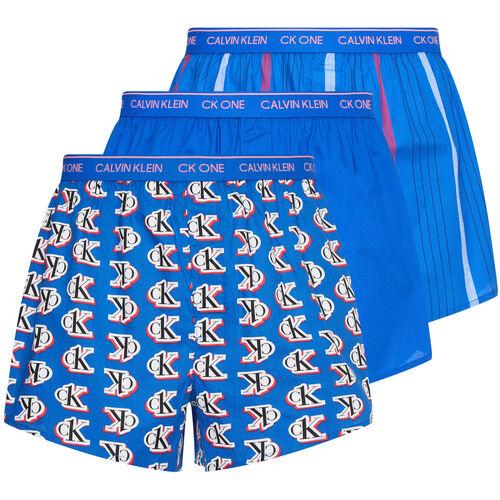 Calvin Klein Boxershorts, 3er-Pack, Label-Print, Baumwolle, für Herren, blau, L