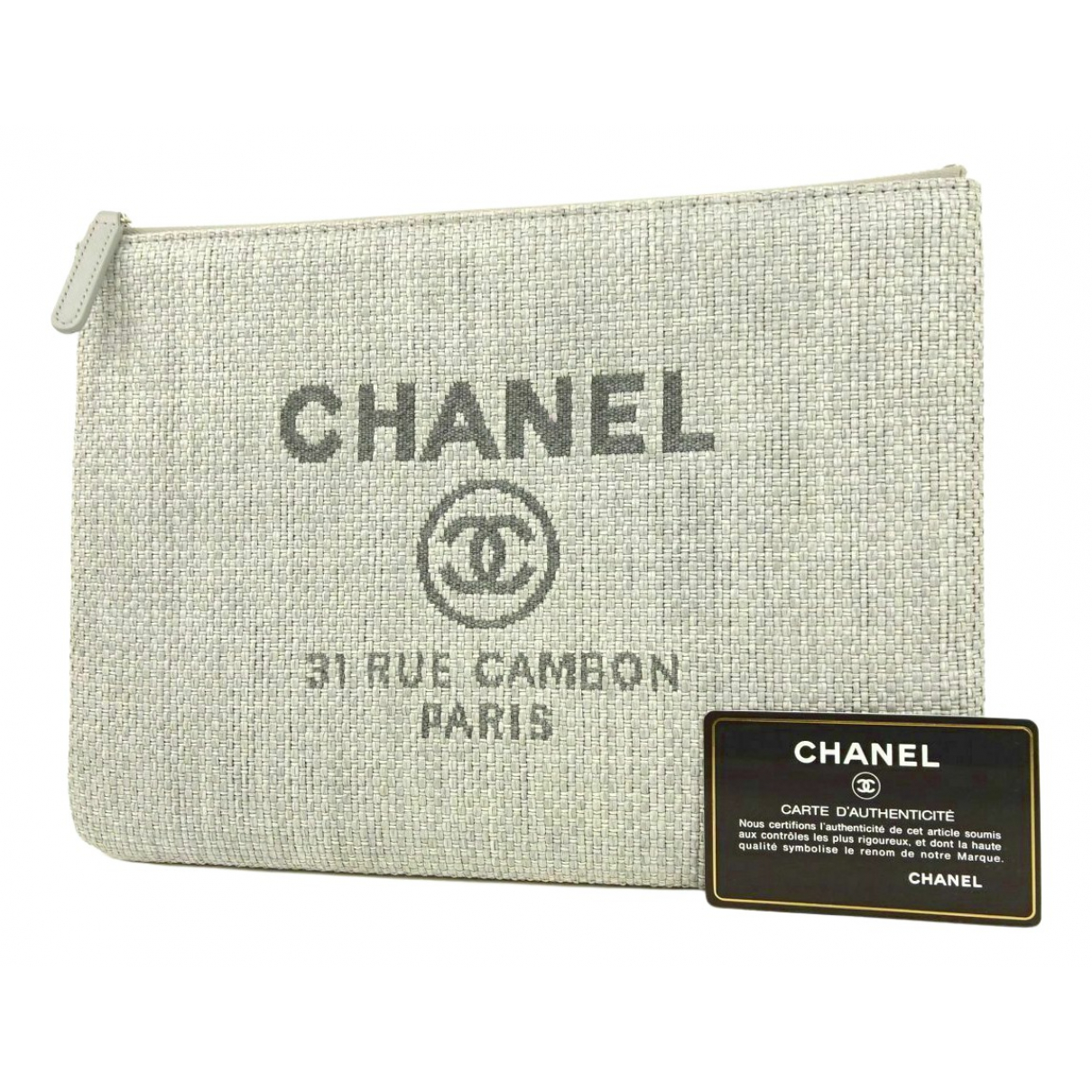 Chanel grey Leather CLUTCH BAGS