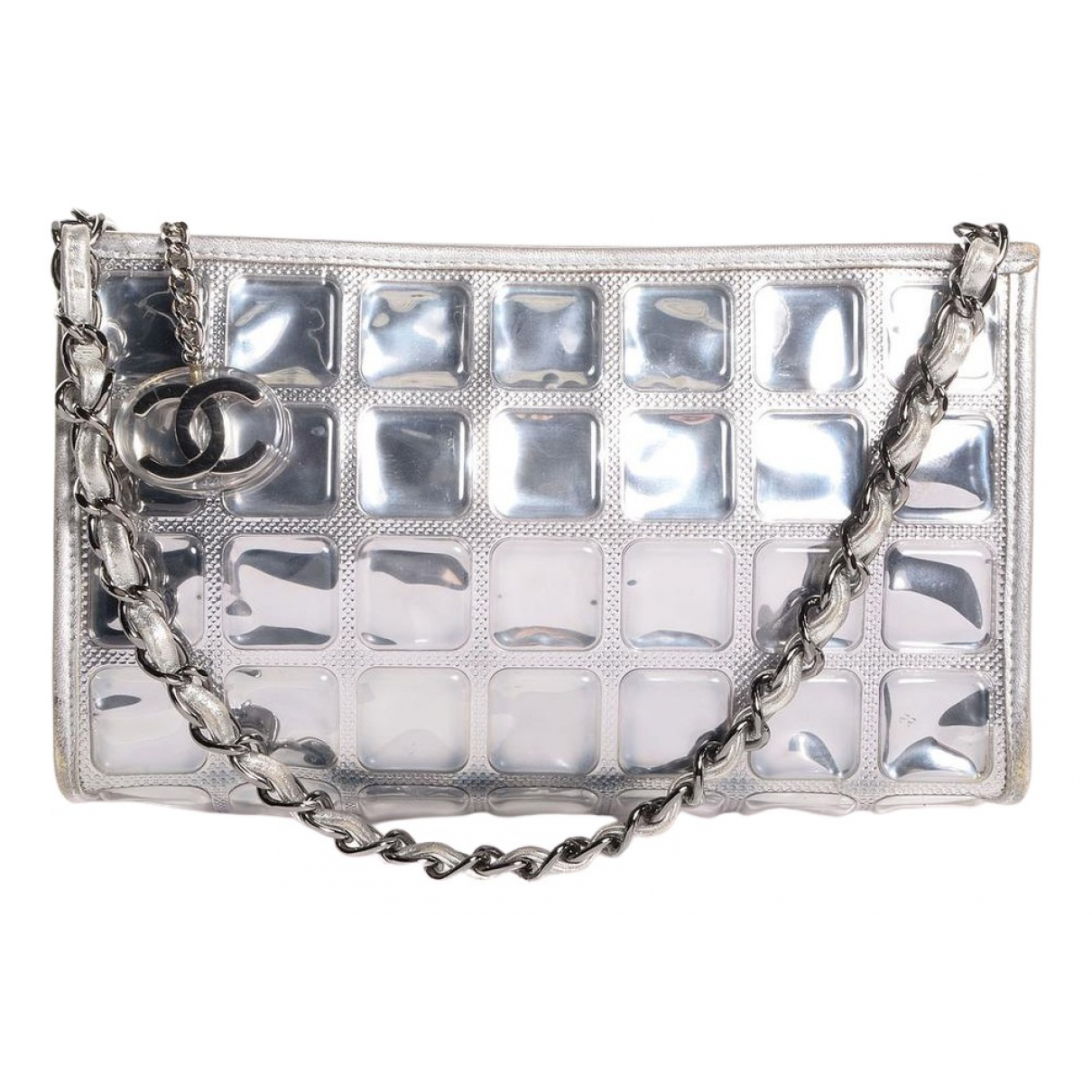 Chanel silver Plastic CLUTCH BAGS