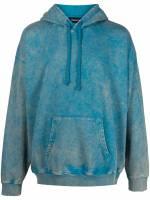 Diesel Hoodie mit Acid-Wash-Effekt - Blau