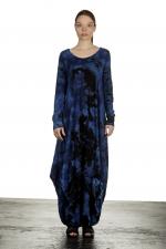 Gilda Midani Damen Ballonkleid lang dunkelblau Print
