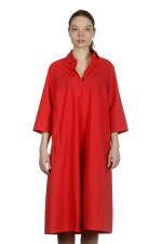 Katharina Hovman Damen Kleid in A-Linie mit Umlegekragen rot
