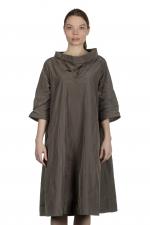 Katharina Hovman Damen Taft Kleid in A-Linie mit hohem Kragen mocca