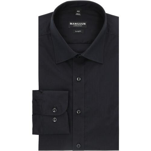 MANGUUN Collection Businesshemd, Langarm, Kent-Kragen, Body Fit, für Herren, 02 SCHWARZ, 38