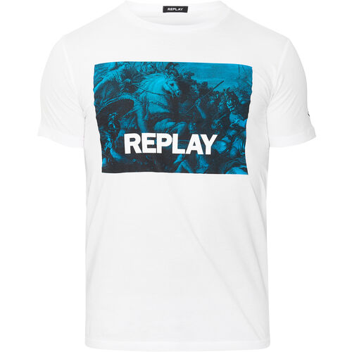Replay T-Shirt, Artwork-Frontprint, für Herren, weiß, L