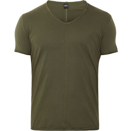 Replay T-Shirt, offener Saum, V-Ausschnitt, Rückennaht, für Herren, khaki, L