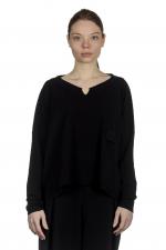 Sarah Pacini Damen Cropped Pullover mit V-Ausschnitt schwarz