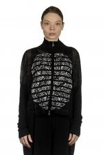 Sarah Pacini Damen Kurze Strickjacke mit Muster schwarz weiß