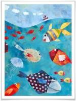 """Wall-Art Poster """"Märchen Wandbilder Fische im Meer"""", Fisch & Meeresfrüchte (1 Stück), Poster, Wandbild, Bild, Wandposter"""