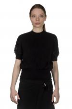 Y's Yohji Yamamoto Damen Cropped-Pullover mit gestricktem Design schwarz