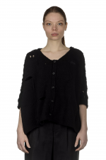 Y's Yohji Yamamoto Damen Cropped Strickjacke im Distressed-Look schwarz