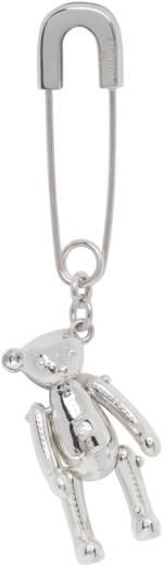 AMBUSH Silver Single Teddy Bear Charm Earring