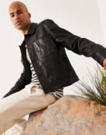 ASOS DESIGN - Kurz geschnittene Harringtonjacke aus Leder in Schwarz