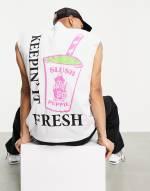 ASOS DESIGN - Übergroßes, ärmelloses T-Shirt mit Aufdruck in Weiß