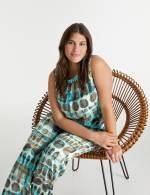 Ärmellose Bluse mit Allover-Print Blau 50/XL