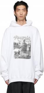 Balenciaga White 'Venezia' Large Fit Hoodie